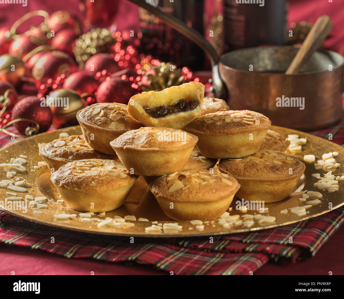 Frangipane mince pies with almond topping.  Festive food UK - Stock Image