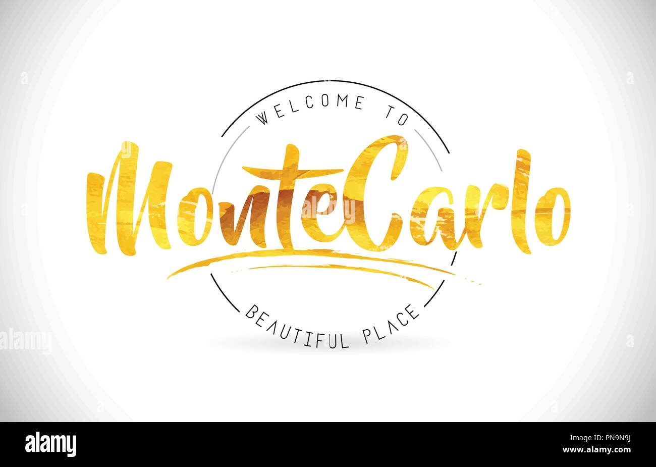 MonteCarlo Welcome To Word Text with Handwritten Font and Golden Texture Design Illustration Vector. - Stock Vector