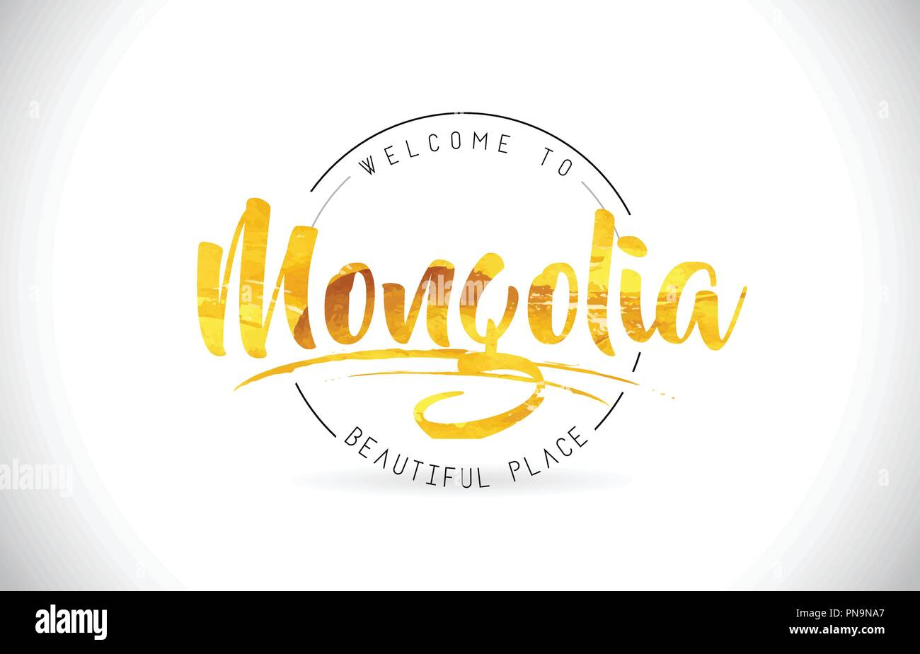 Mongolia Welcome To Word Text with Handwritten Font and Golden Texture Design Illustration Vector. - Stock Vector