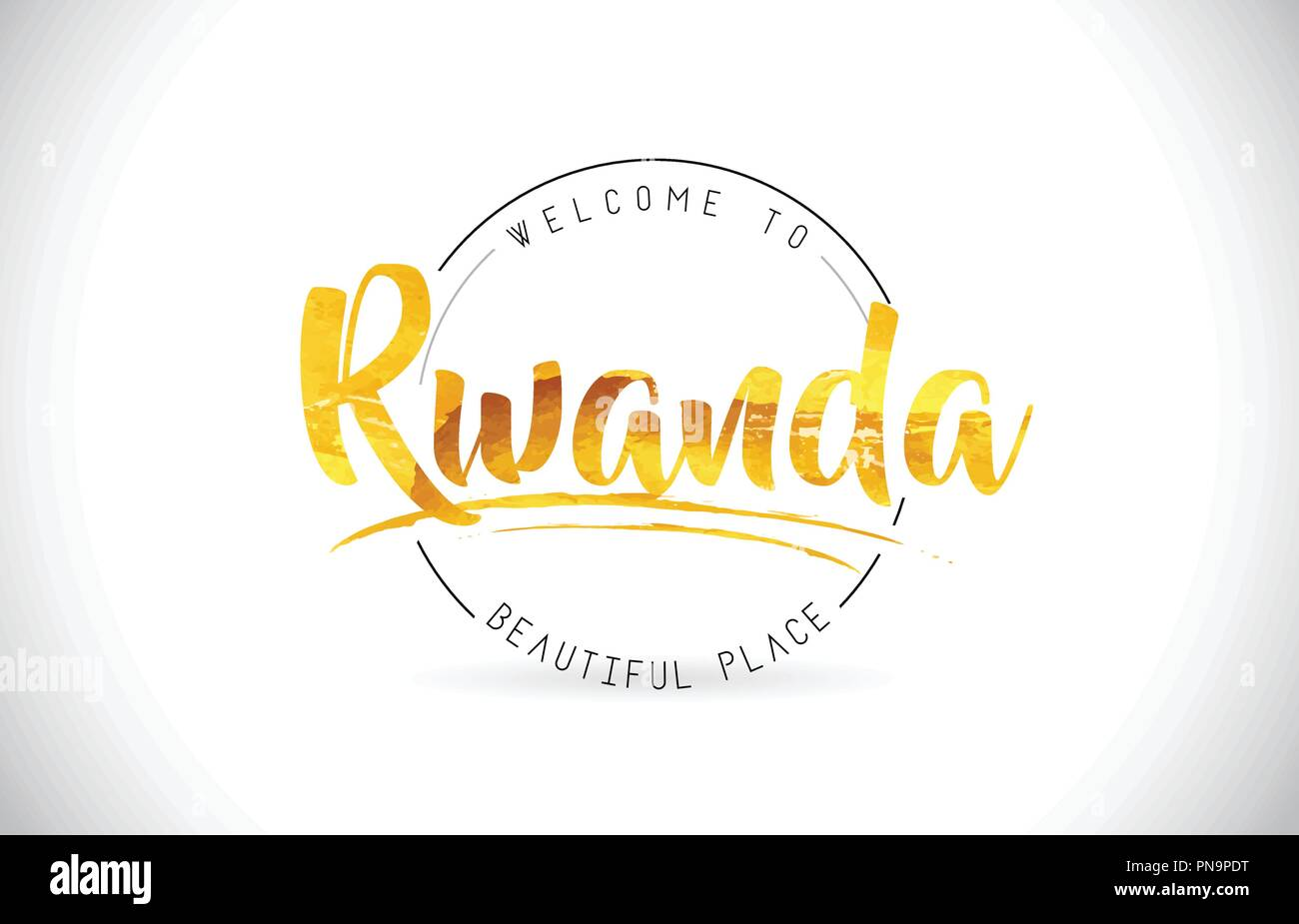 Rwanda Welcome To Word Text with Handwritten Font and Golden Texture Design Illustration Vector. - Stock Vector
