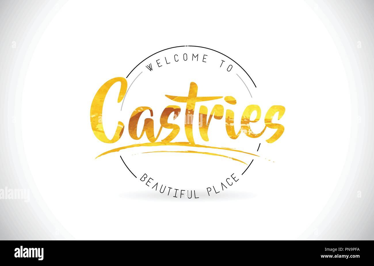 Castries Welcome To Word Text with Handwritten Font and Golden Texture Design Illustration Vector. - Stock Image