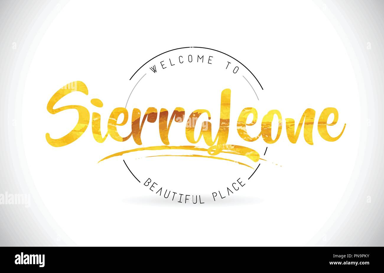 SierraLeone Welcome To Word Text with Handwritten Font and Golden Texture Design Illustration Vector. - Stock Image