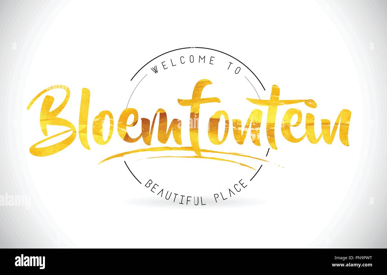 Bloemfontein Welcome To Word Text with Handwritten Font and Golden Texture Design Illustration Vector. - Stock Image