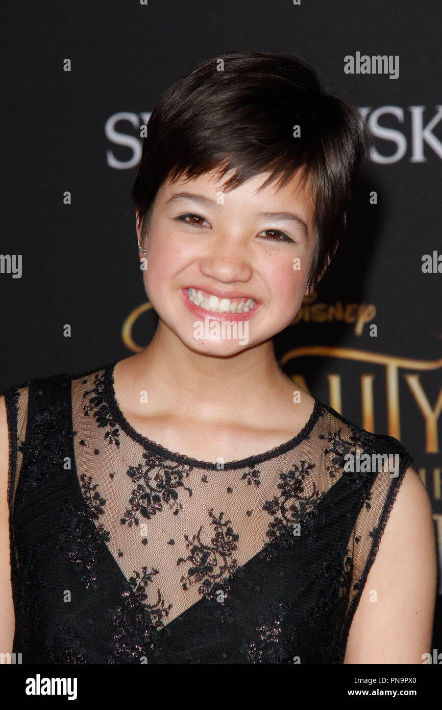 Peyton Elizabeth Lee at the World Premiere of Disney's 'Beauty and the Beast' held at El Capitan Theater in Hollywood, CA, March 2, 2017. Photo by Joseph Martinez / PictureLux - Stock Image