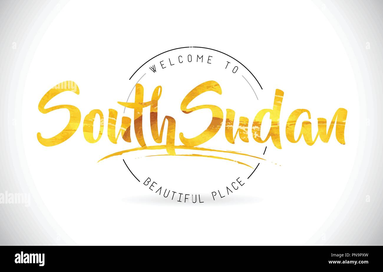 SouthSudan Welcome To Word Text with Handwritten Font and Golden Texture Design Illustration Vector. - Stock Image