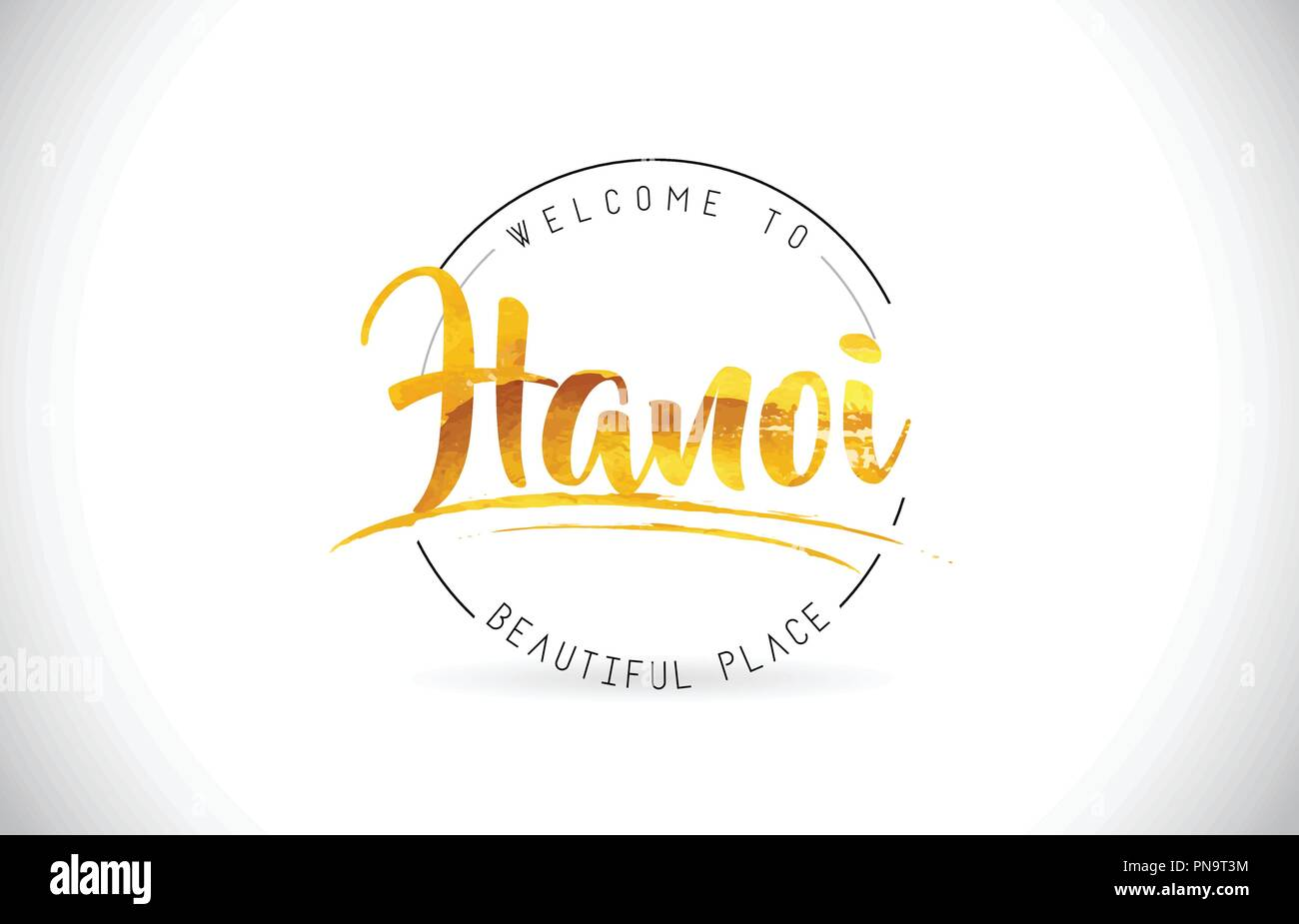Hanoi Welcome To Word Text with Handwritten Font and Golden Texture Design Illustration Vector. - Stock Vector