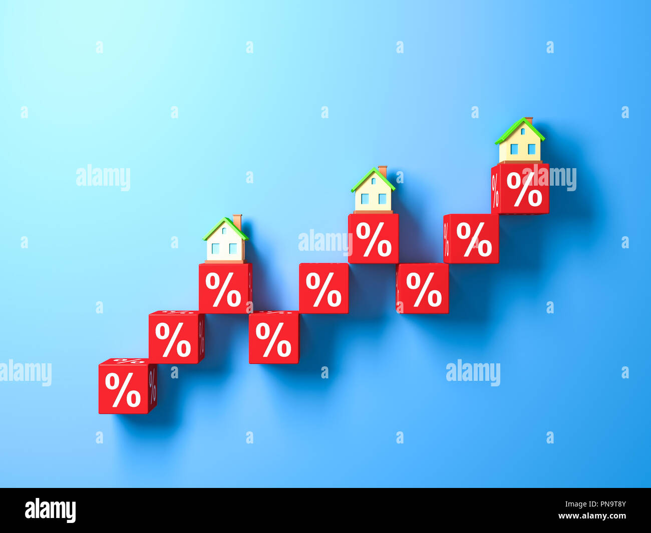 Miniature Houses And Red Percentage Blocks. 3d rendering. - Stock Image