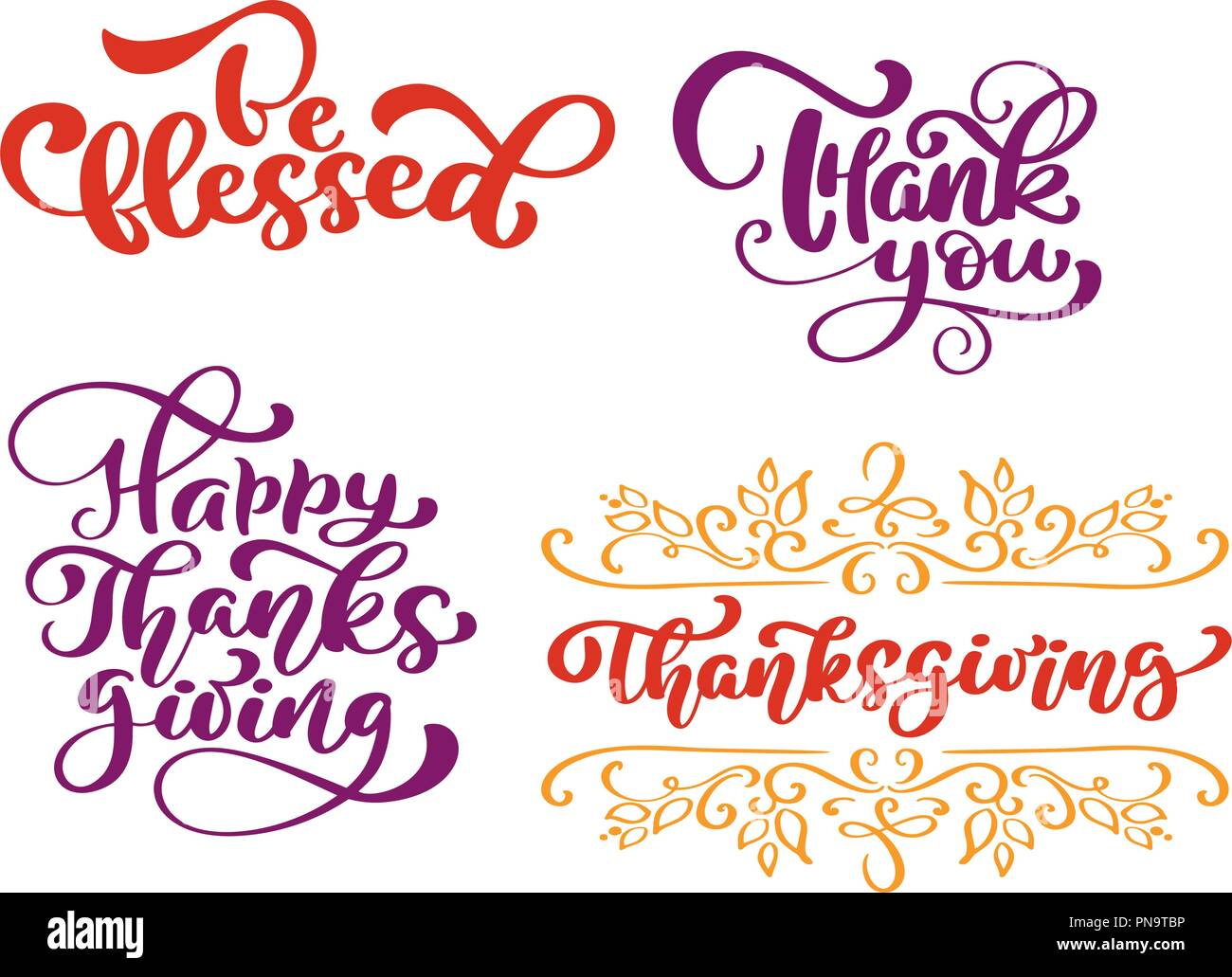 set of calligraphy phrases be blessed thank you for happy thanksgiving day holiday family positive quotes lettering postcard or poster graphic design