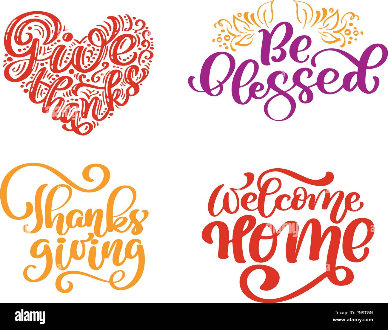 Set Of Calligraphy Phrases Give Thanks Be Blessed Thanksgiving Day