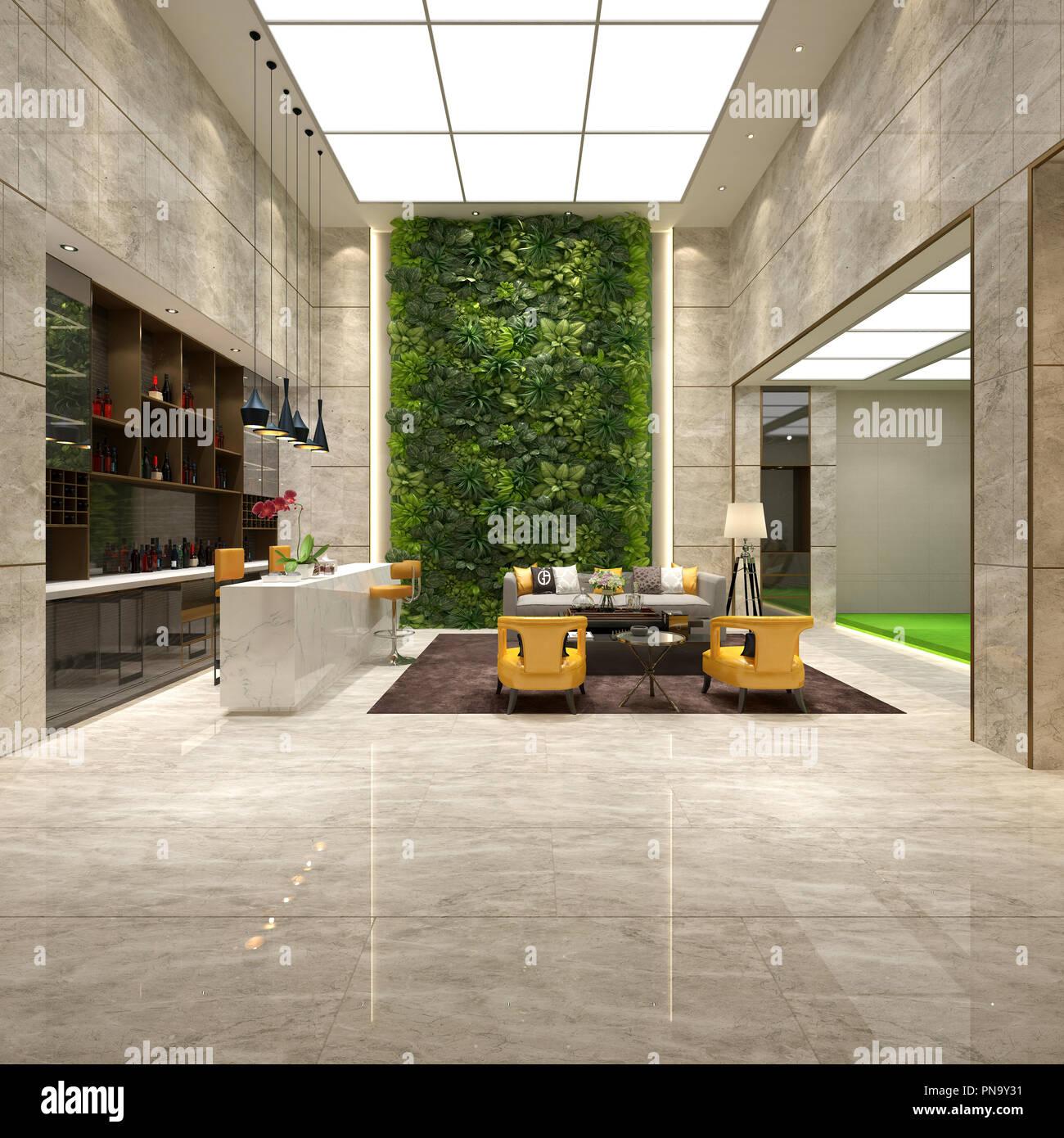 3D render of modern hotel lobby reception Stock Photo