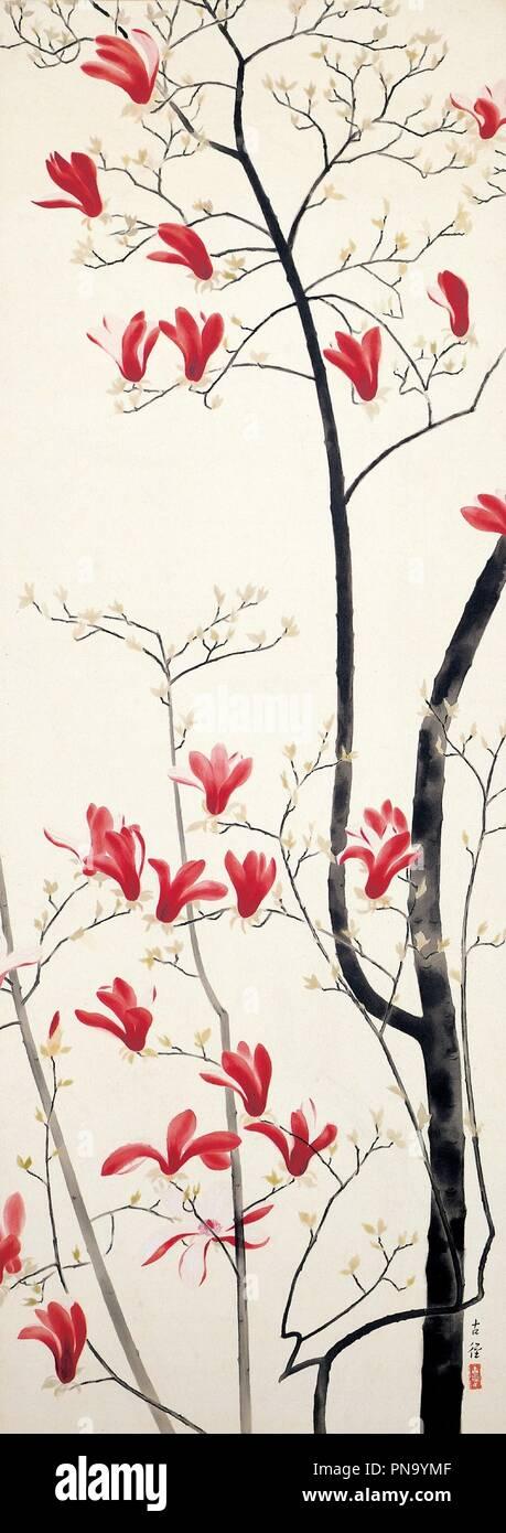 Magnolia Tree Dateperiod 1919 Japanese Painting Color On Silk