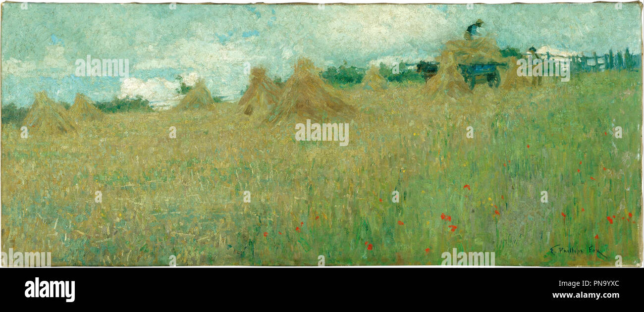 Harvesting. Date/Period: Ca. 1900. Painting,oil on canvas. Height: 490 mm (19.29 in); Width: 1,207 mm (47.51 in). Author: E. Phillips Fox. Fox, Emanuel Phillips. - Stock Image