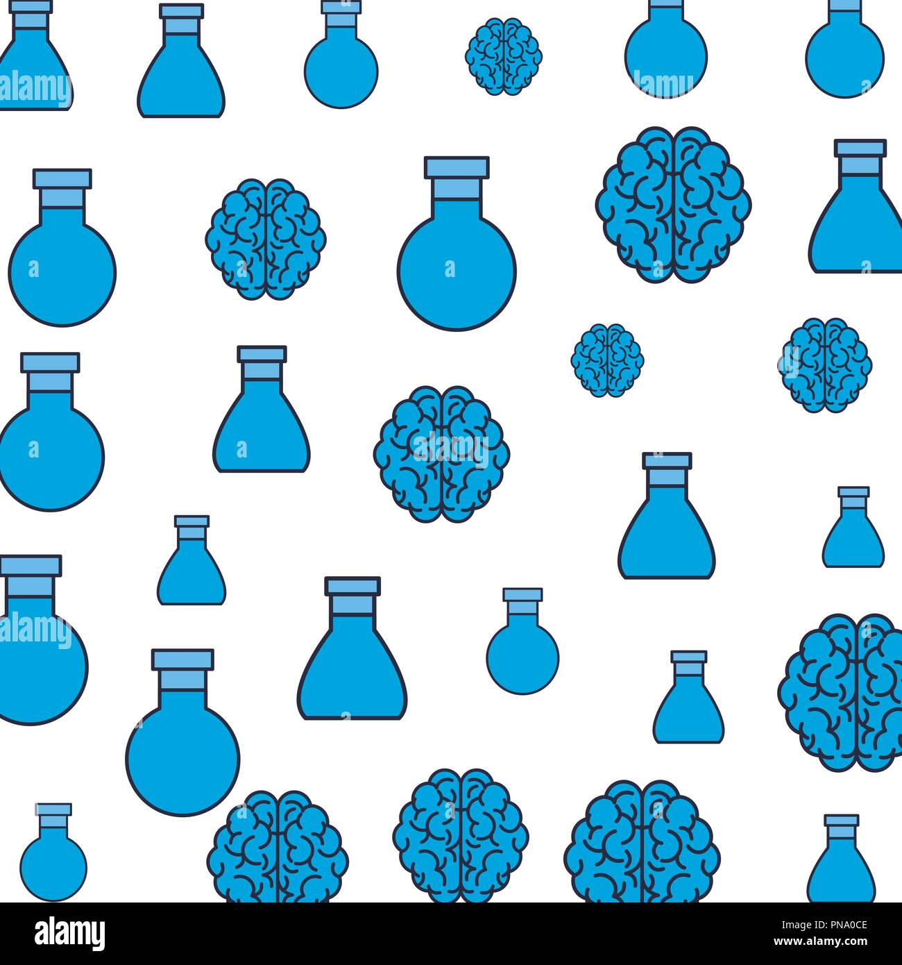 Flask and brains pattern background - Stock Image