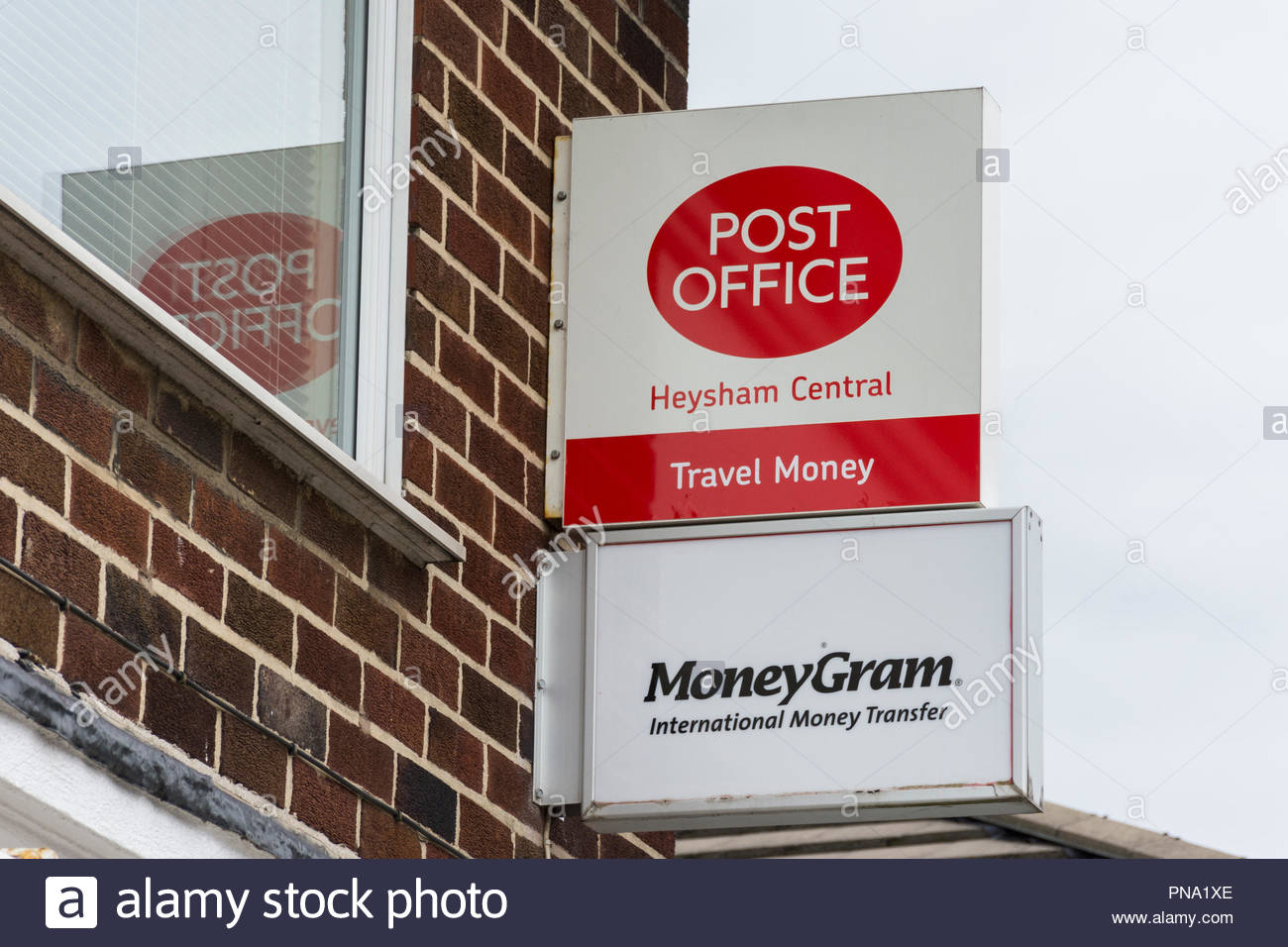 A Sign for Heysham Central Post Office, Lancashire Stock Photo