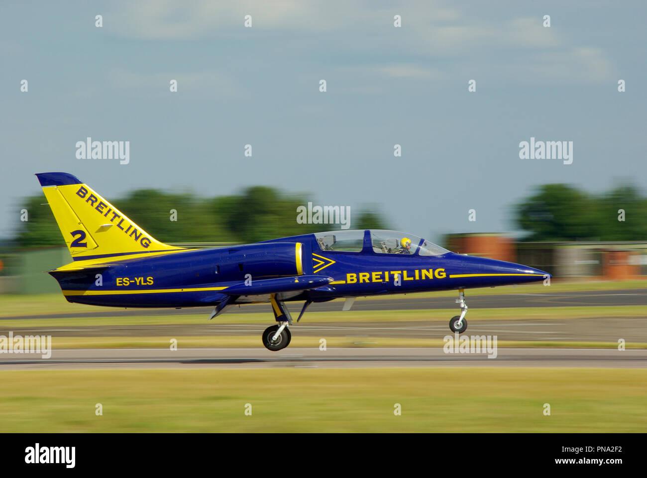 Breitling Jet Team L-39 jet plane landing after displaying at RAF Waddington airshow. Aerovodochody Aero L-39 Albatros jet - Stock Image