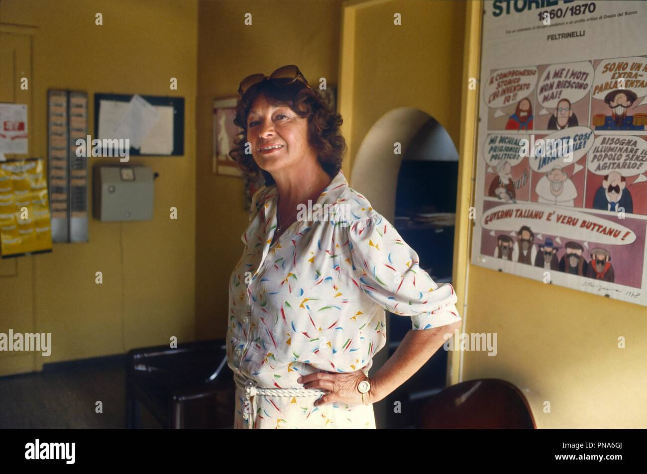 Inge Feltrinelli, director of the homonymous Italian publishing house, in her house in Milan in the 80s - Stock Image