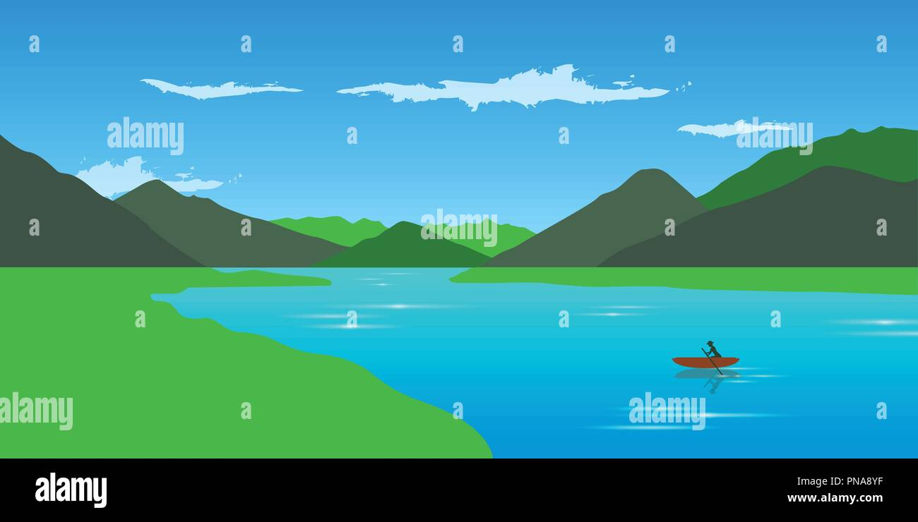 lonely canoeing on the river adventure in the summer with green mountain landscape vector illustration EPS10 - Stock Vector