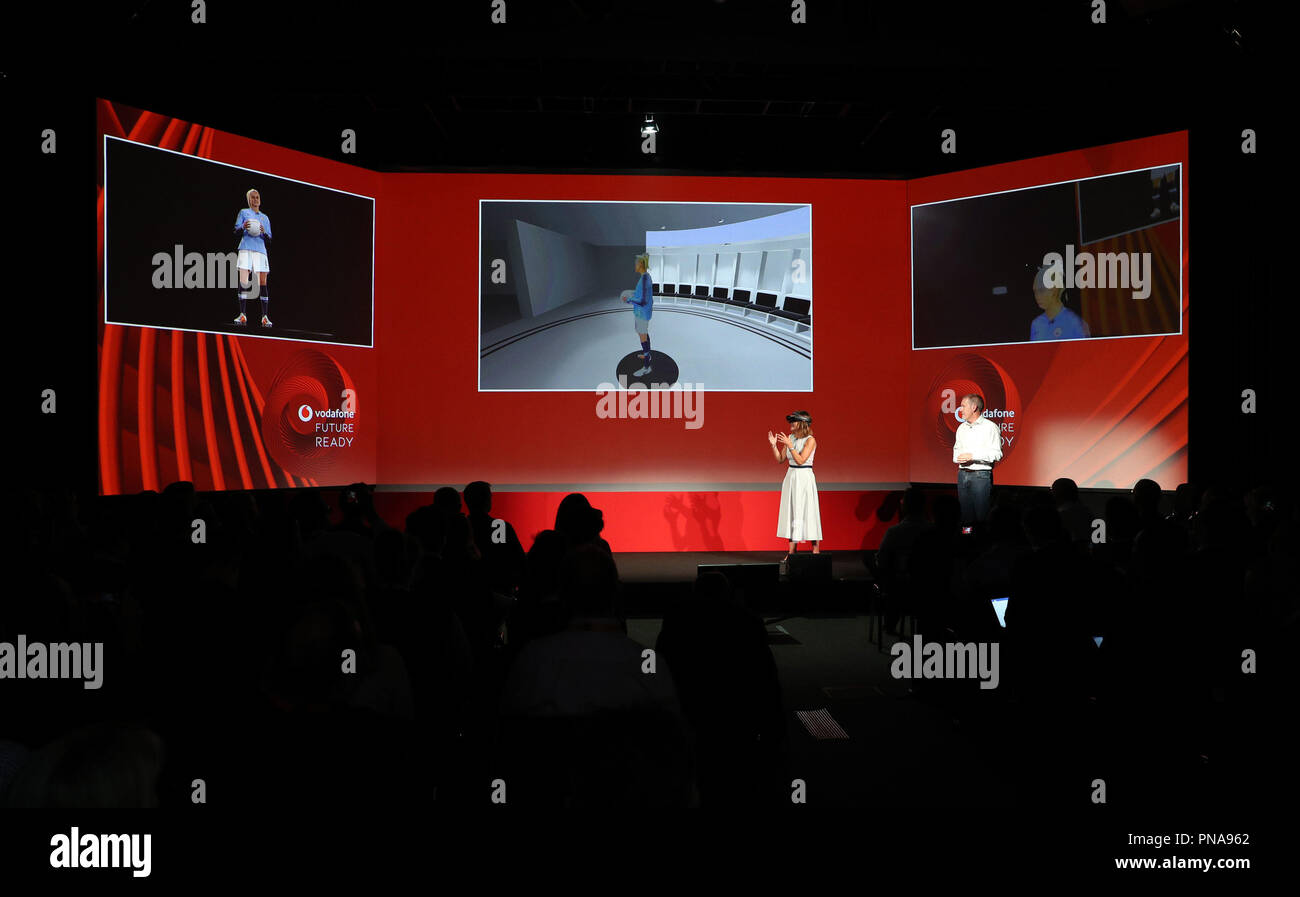 Anne Sheehan, Vodafone UK Enterprise Director uses a virtual