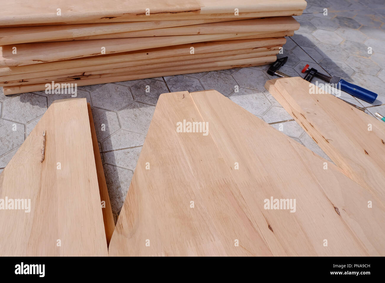 Woodworking equipment, work on wood plank in workshop - Stock Image