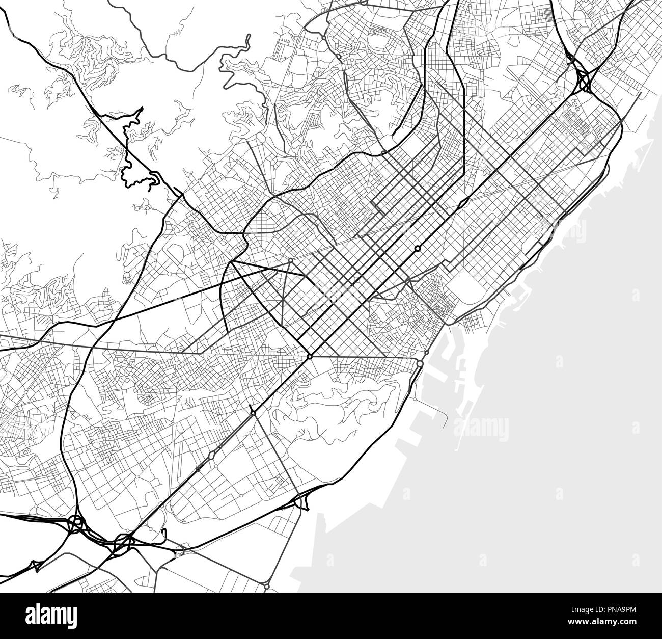 Vector city map of Barcelona in black and white Stock Vector ... on hand drawn city map, design city map, city center map, dragon city map, graphic city map, imperial city map, new york city road map, photoshop tutorial city map, art city map, hudson city map, tech city map, custom city map, mega city map, eagle city map,