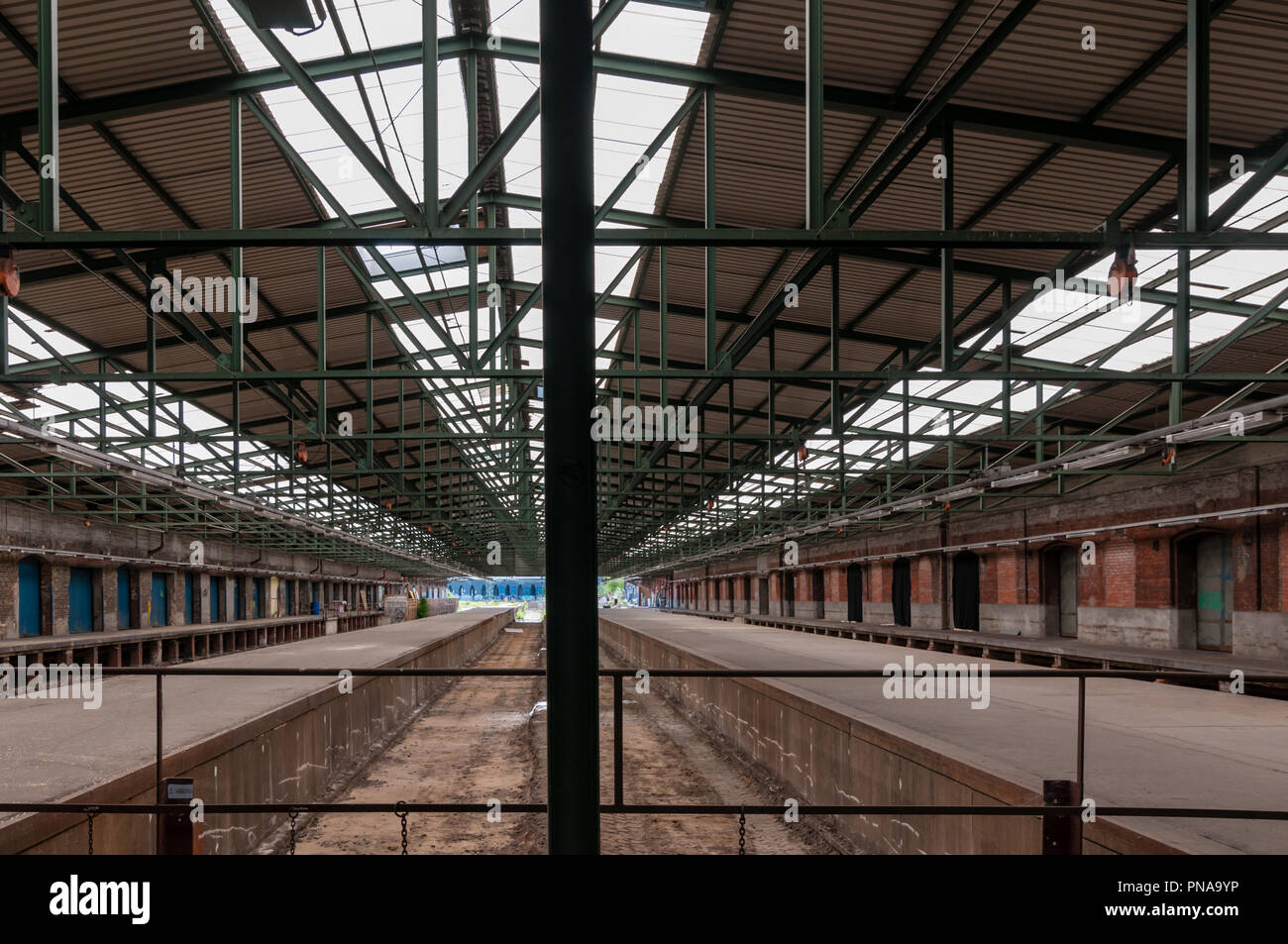 Hamburg, Germany - June 28, 2015: Inside Halle 2 of Oberhafenquartier, a former warehouse facility and future home for young creative people in Hafenc - Stock Image
