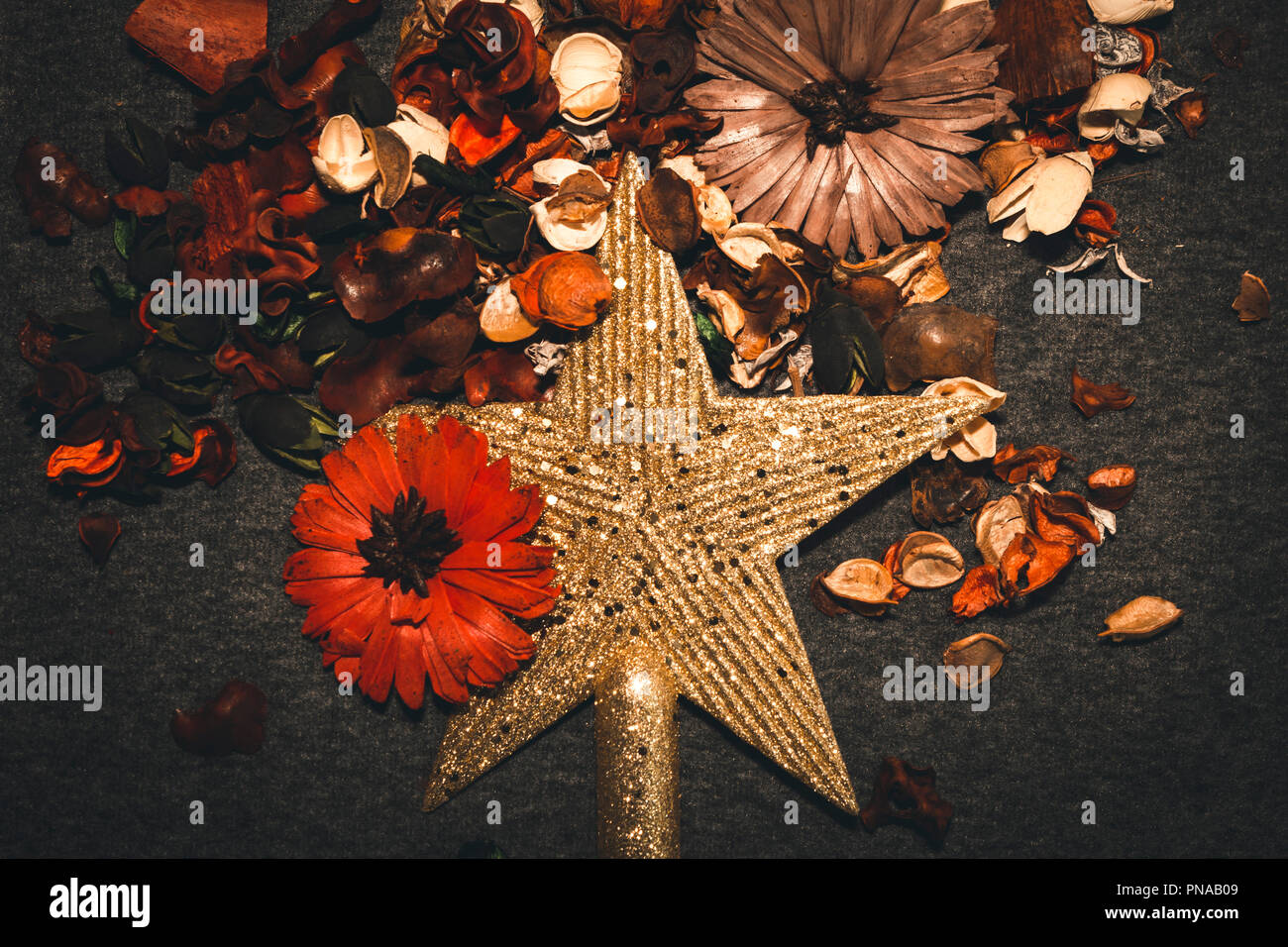 Christmas decorations on grey background, golden star with glitter, surrounded by potpourri, toned image, warm colors, studio shot, backgrounds. - Stock Image