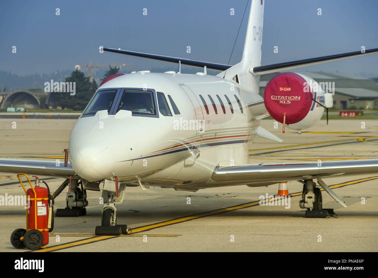 Cessna Citation XLS private executive jet at Verona airport. - Stock Image