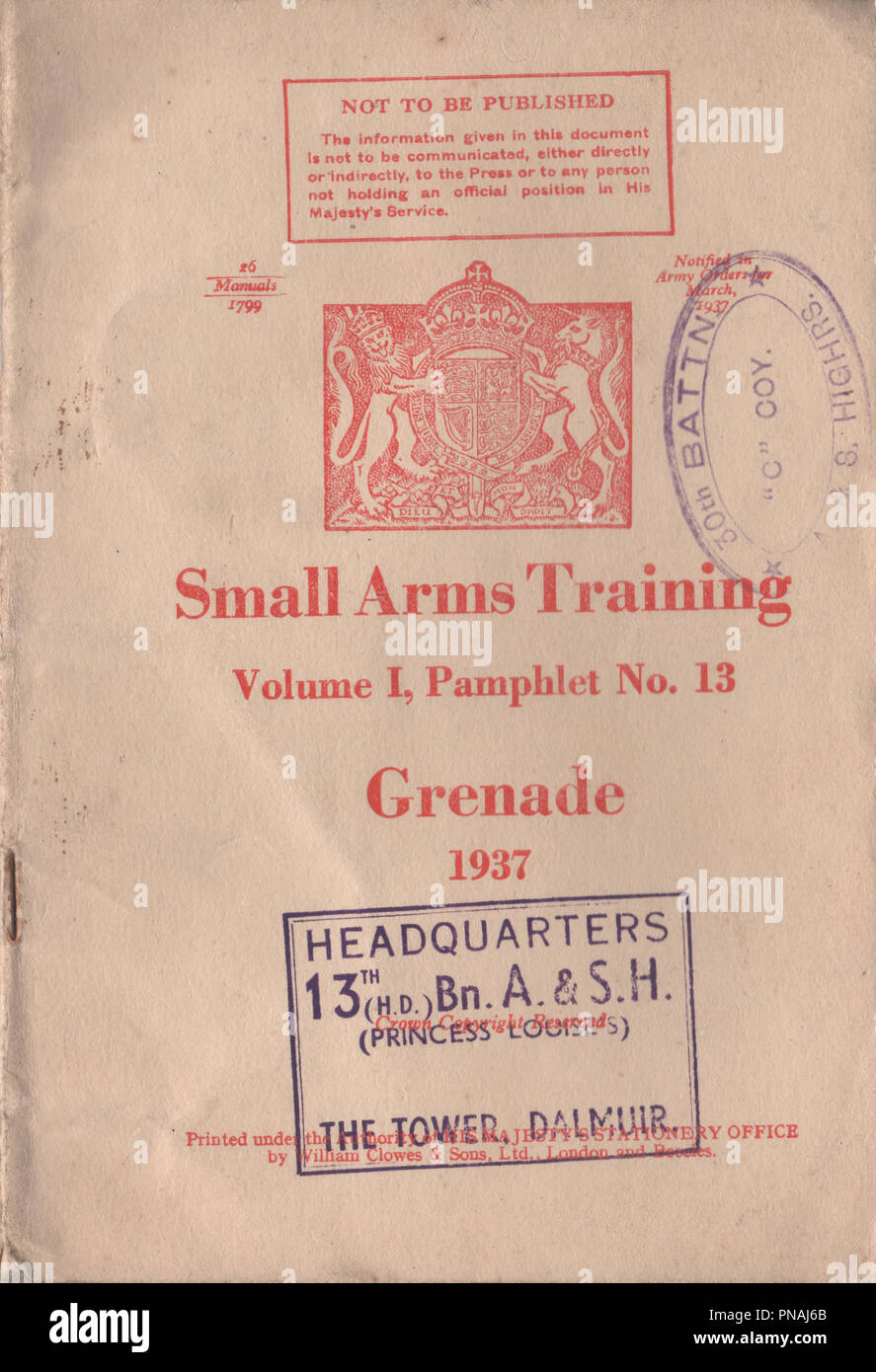 Small Arms Training Manual volume 1 pamphlet number 13 Grenade or Mills bomb published in 1937 by the war office to provide instruction to British military personnel on how to use the hand grenade during the pre-war period and World War Two - Stock Image