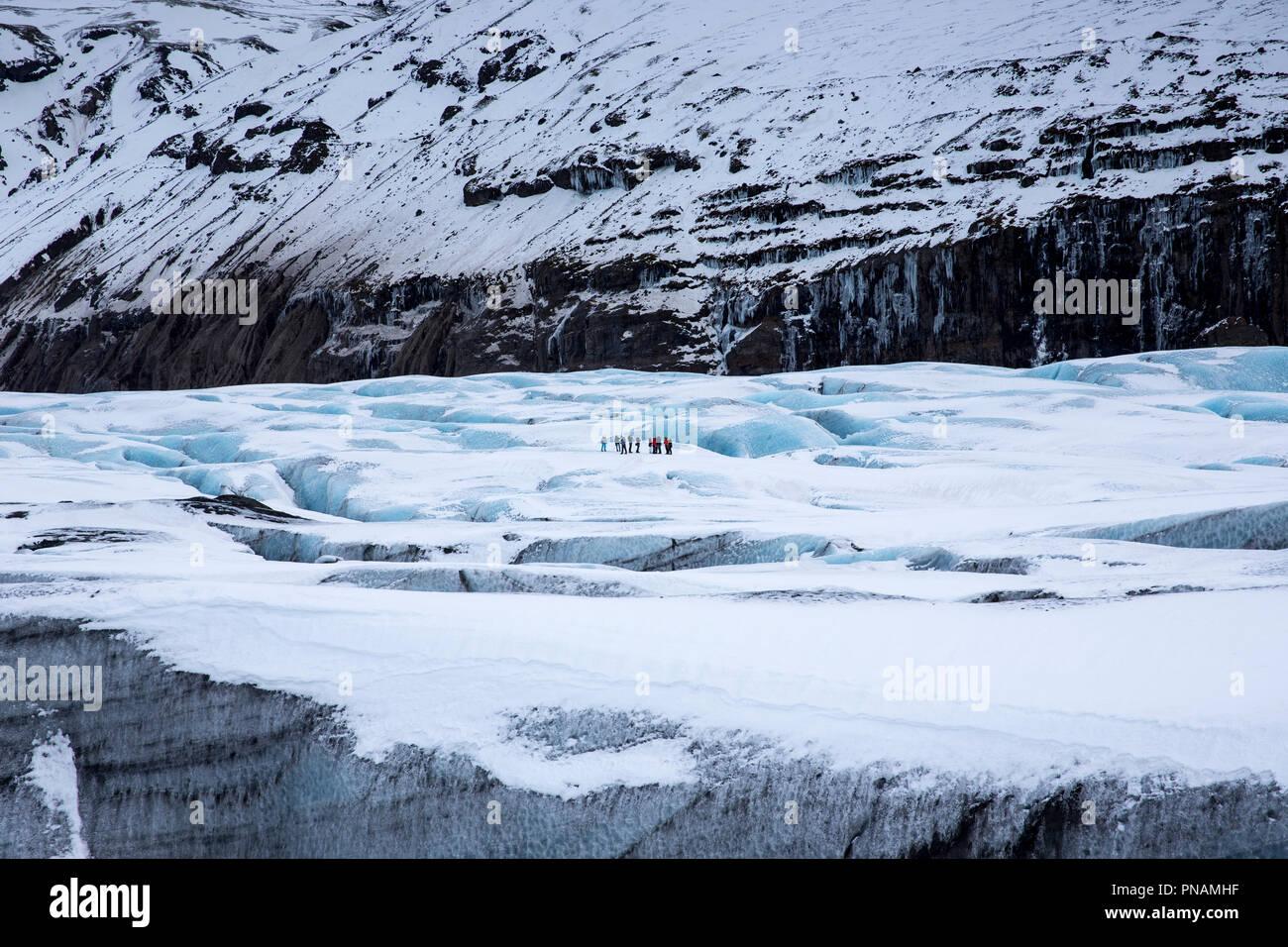 Group of tourists walking on adventure trek on Svinafellsjokull glacier an outlet glacier of Vatnajokull, South Iceland - Stock Image