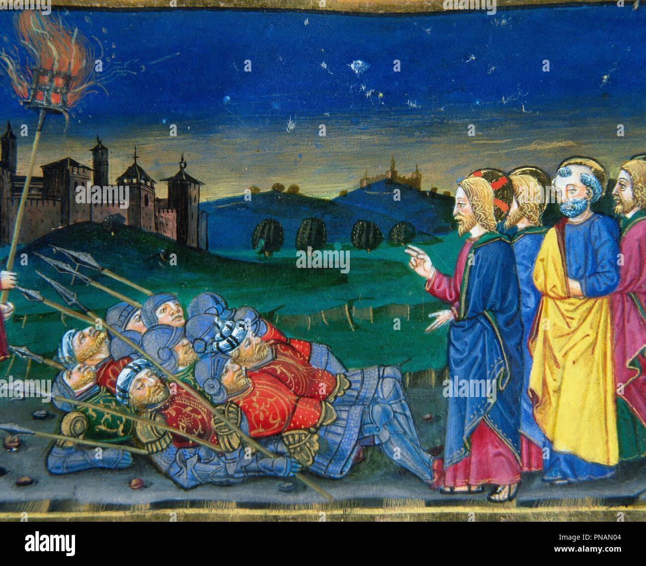 Cristoforo de Predis (1440-1486). Italian miniaturist. Jesus, who knew everything, says to those who persecute him: I am Jesus of Nazareth. Miniature. Codex of Predis, 1476. Royal Library. Turin, Italy. - Stock Image