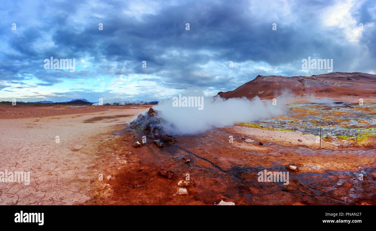 Smoking fumaroles on Hverarond valley - Stock Image