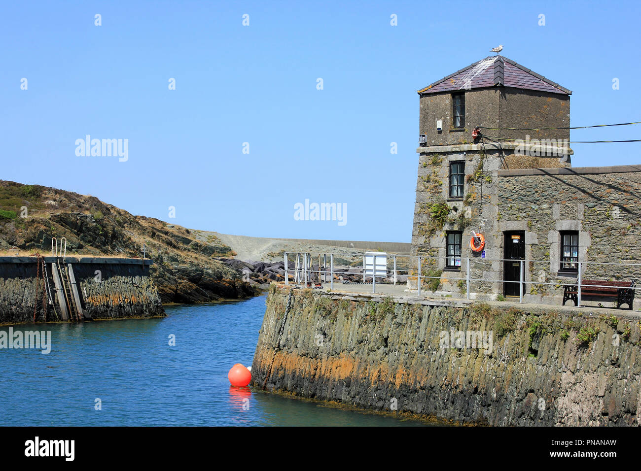 The Old Watch Tower / Lighthouse (Y Watiws), Amlwch Port, Anglesey - Stock Image
