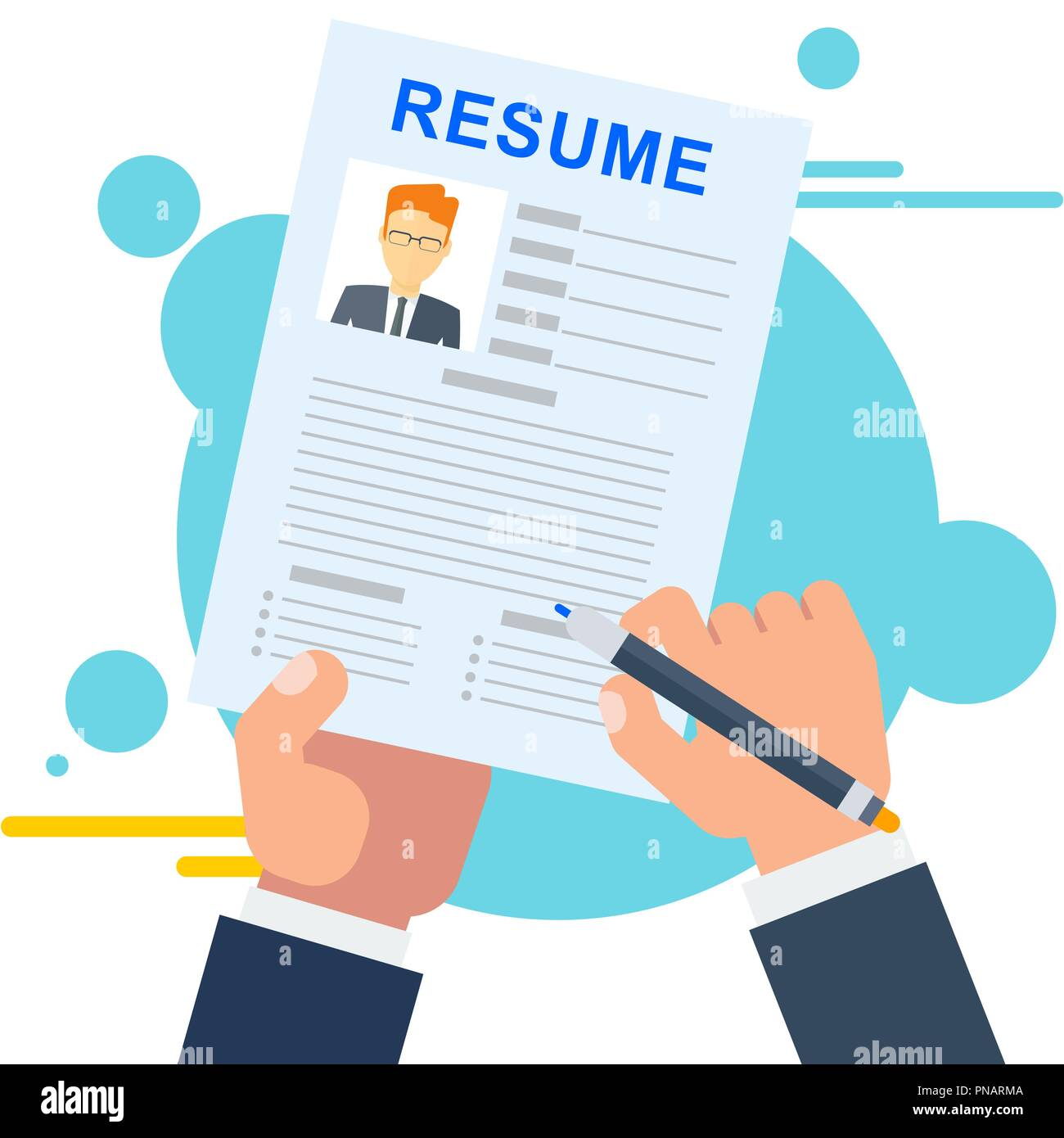 Resume of potential employee. Job seekers and vacancies, hiring and recruiting - Stock Image