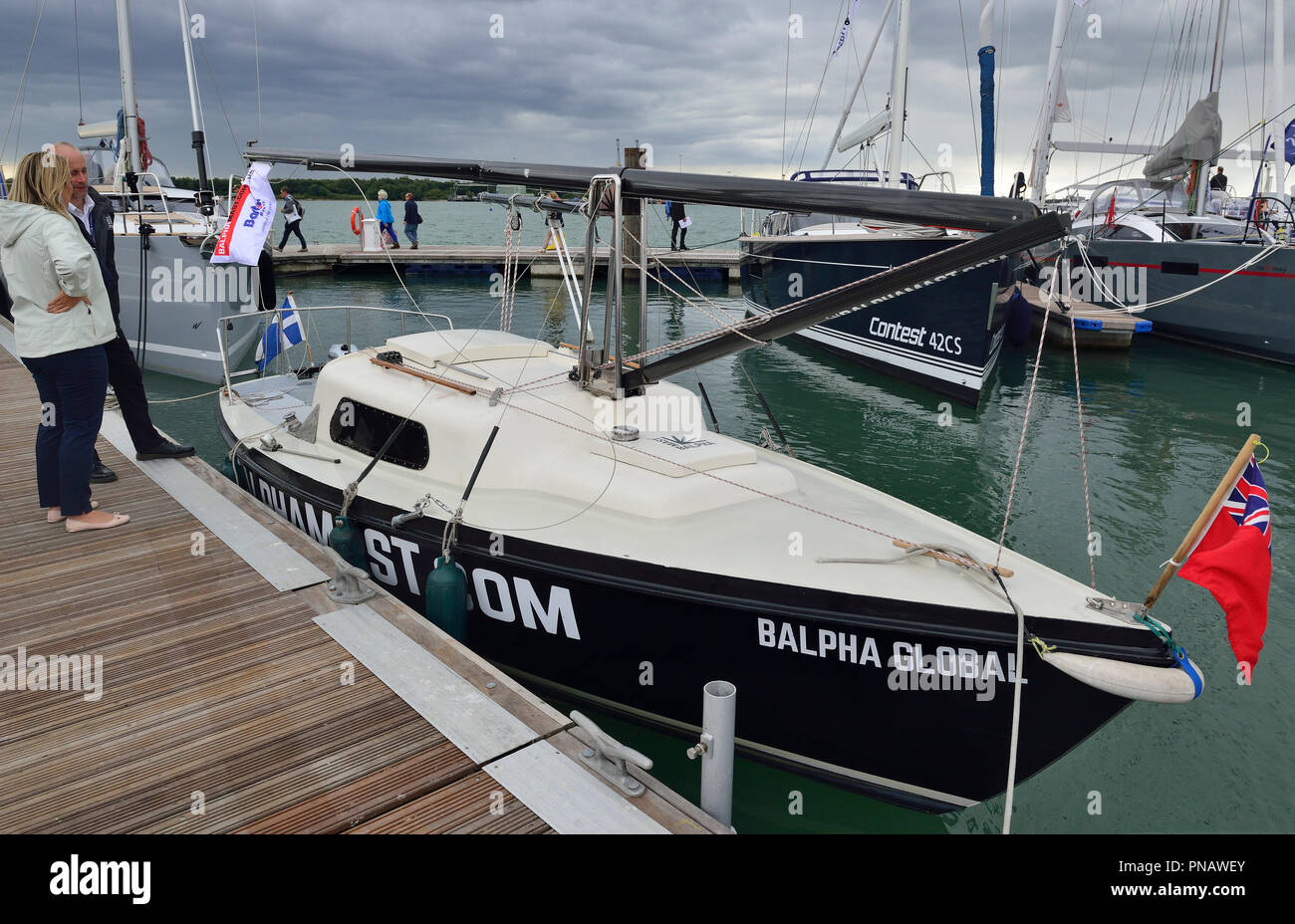 Balpha Global at the Southampton Boat Show 2018 with its Balpha Mast foldable mast system for yachts which allows for easy lowering & raising of masts Stock Photo