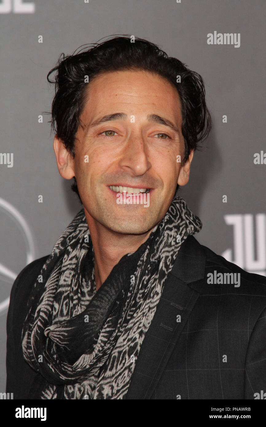 Adrien Brody at the World Premiere of Warner Bros' 'Justice League' held at the Dolby Theater in Hollywood, CA, November 13, 2017. Photo by Joseph Martinez / PictureLux - Stock Image