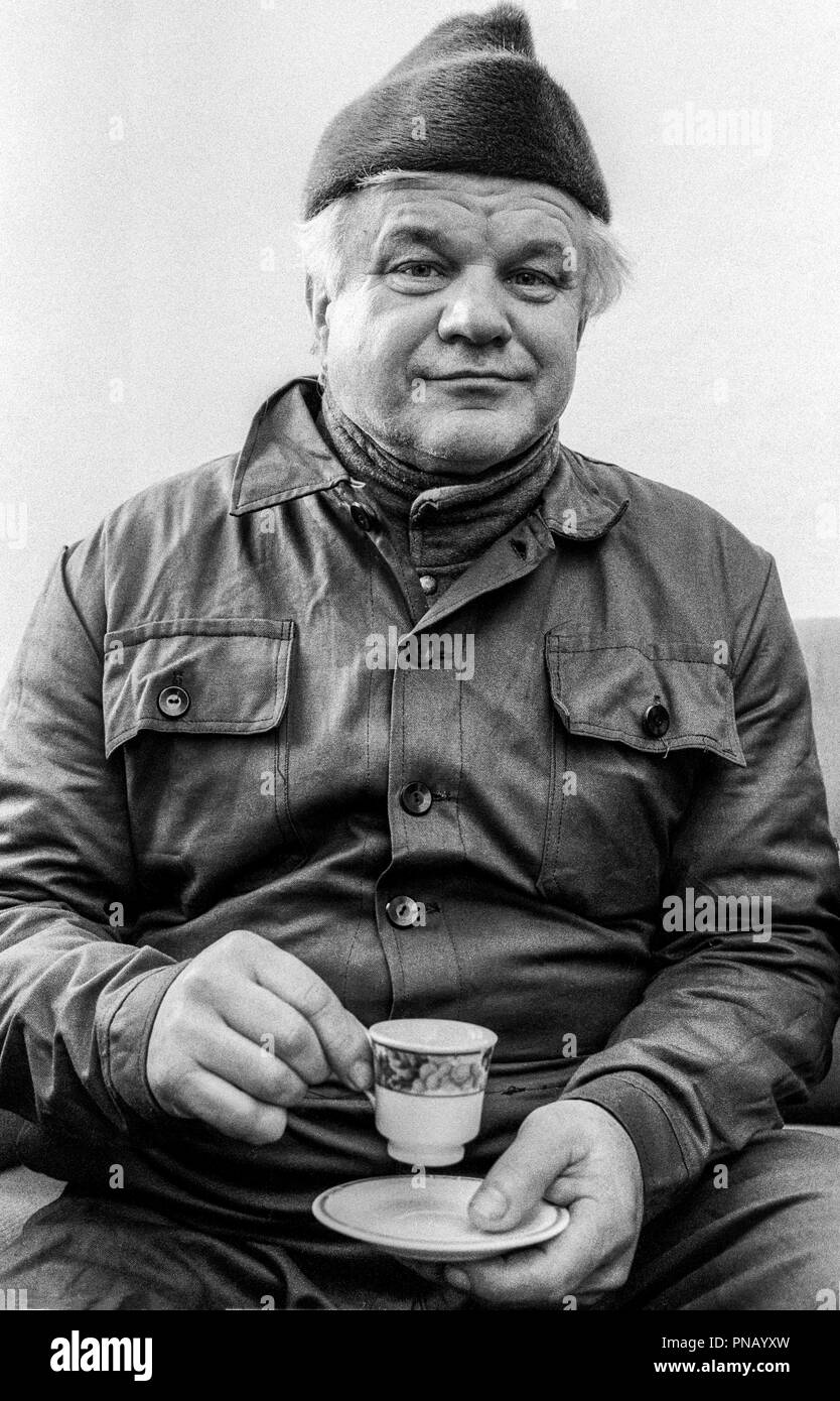 Hungarian having coffee in his home, Korod, Croatia, 1998 Stock Photo