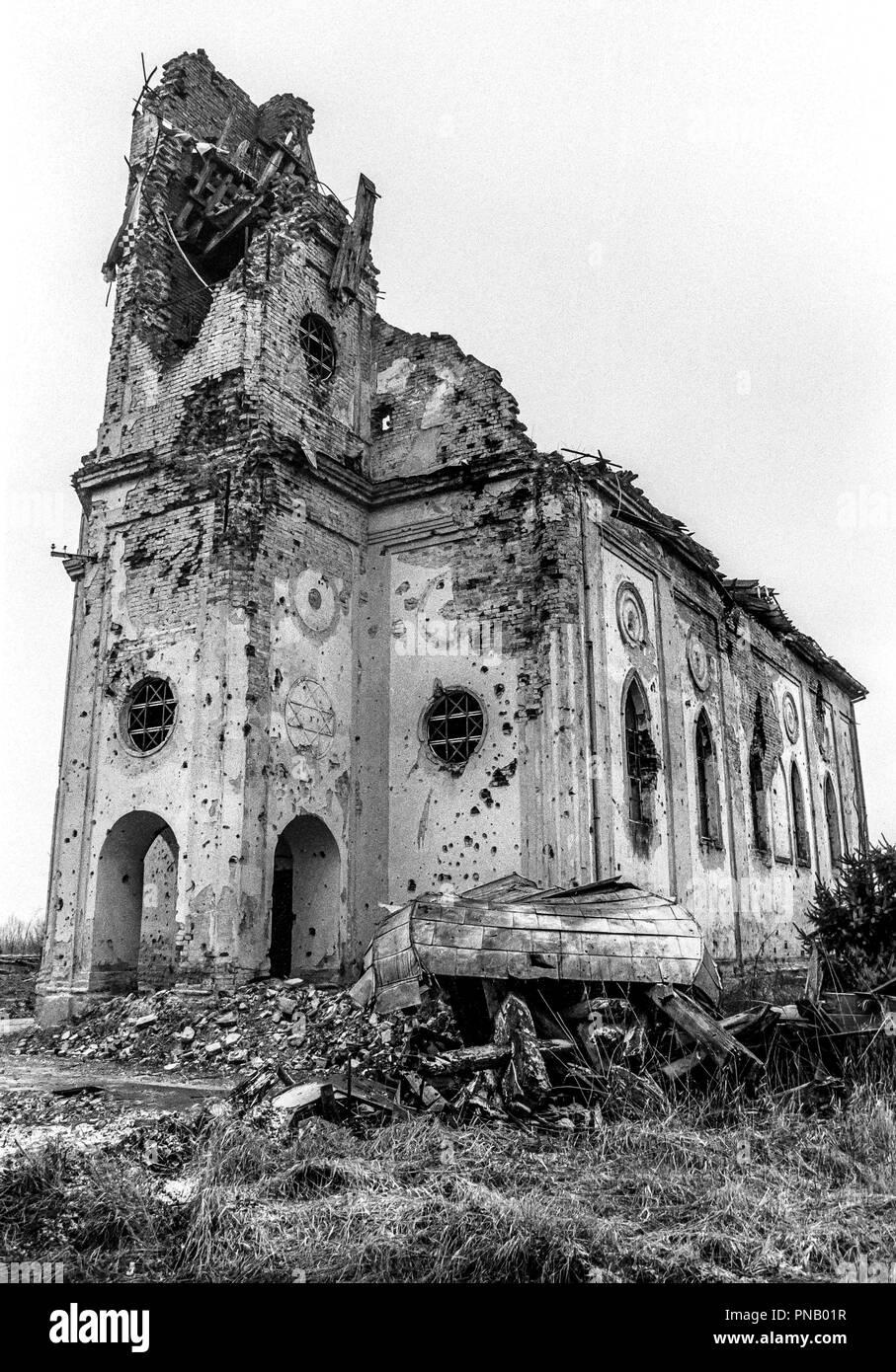 Hungarian Reformed Church, Laslovo/Szentlászló, Croatia. Built in 1878, destroyed in October 1991. Stock Photo