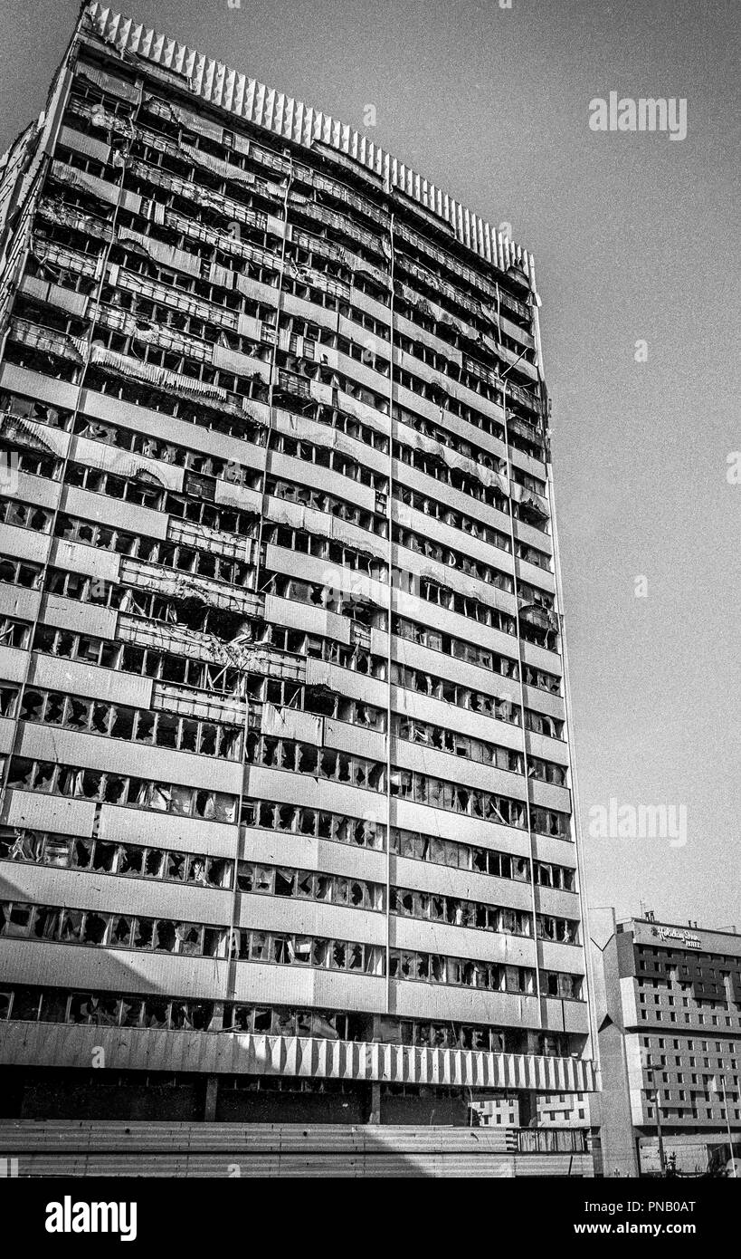 """Bombed out tower block near  the Holiday Inn and """"Sniper Alley,"""" Sarajevo, 1998 Stock Photo"""