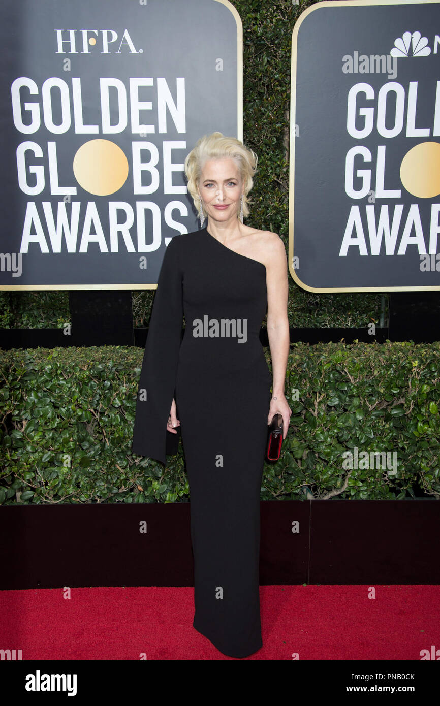 Gillian Anderson arrives at the 75th Annual Golden Globe Awards at the Beverly Hilton in Beverly Hills, CA on Sunday, January 7, 2018. Stock Photo