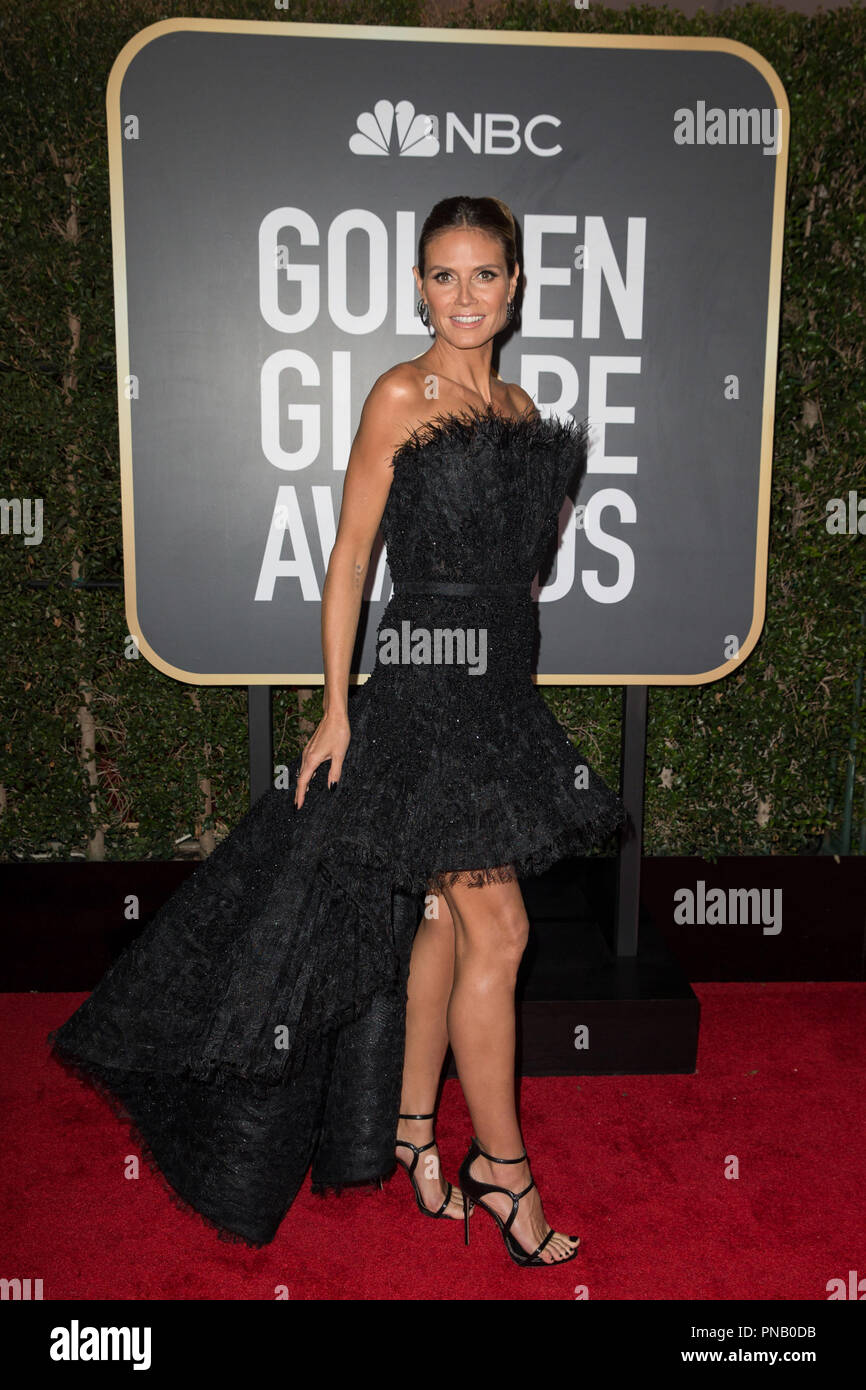Heidi Klum arrives at the 75th Annual Golden Globe Awards at the Beverly Hilton in Beverly Hills, CA on Sunday, January 7, 2018. Stock Photo