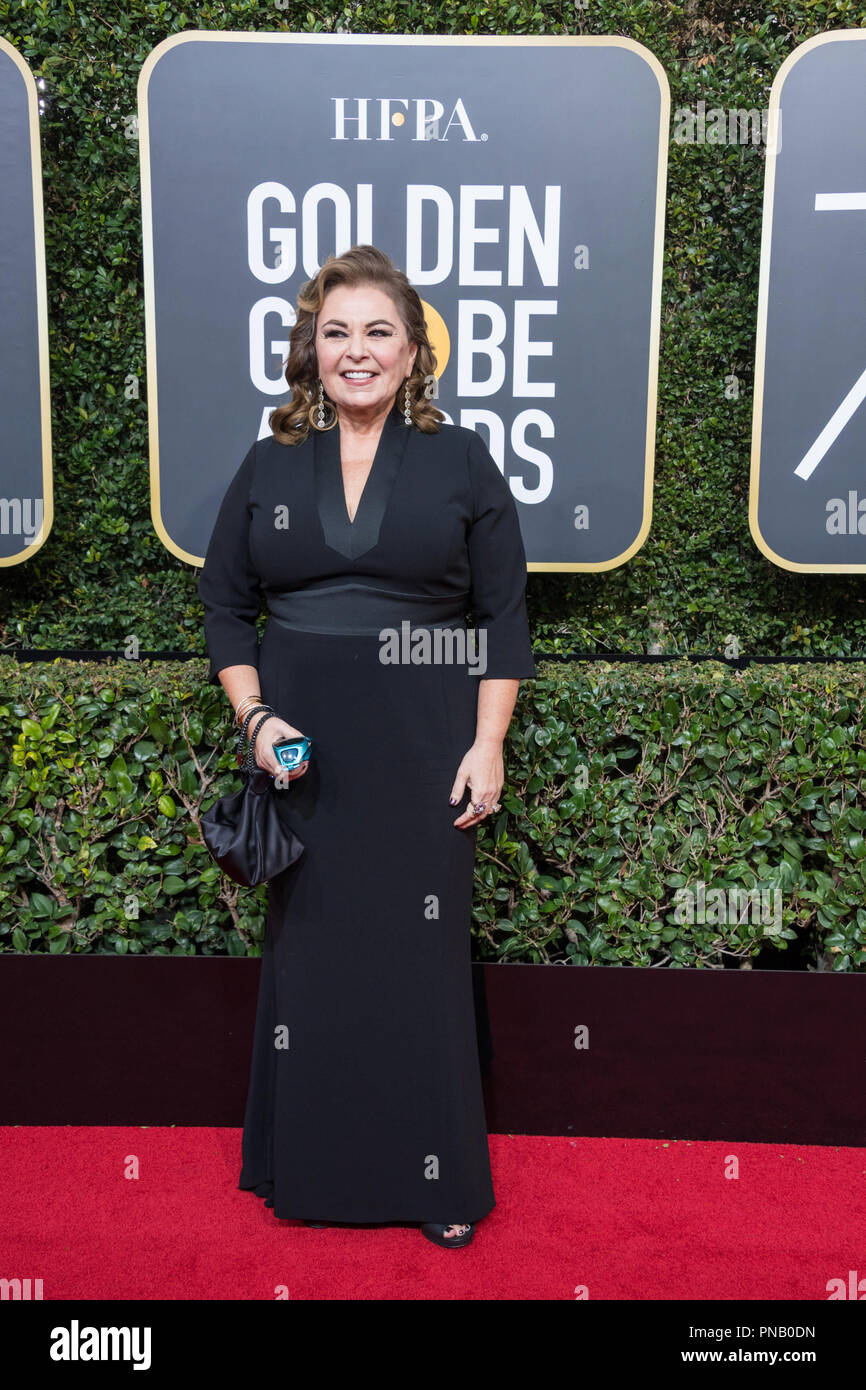 Roseanne Barr arrives at the 75th Annual Golden Globe Awards at the Beverly Hilton in Beverly Hills, CA on Sunday, January 7, 2018. Stock Photo