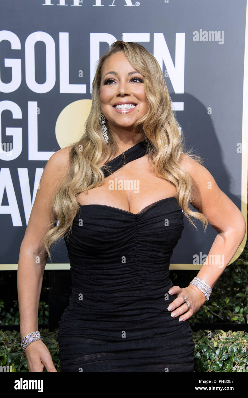 Mariah Carey arrives at the 75th Annual Golden Globe Awards at the Beverly Hilton in Beverly Hills, CA on Sunday, January 7, 2018. Stock Photo