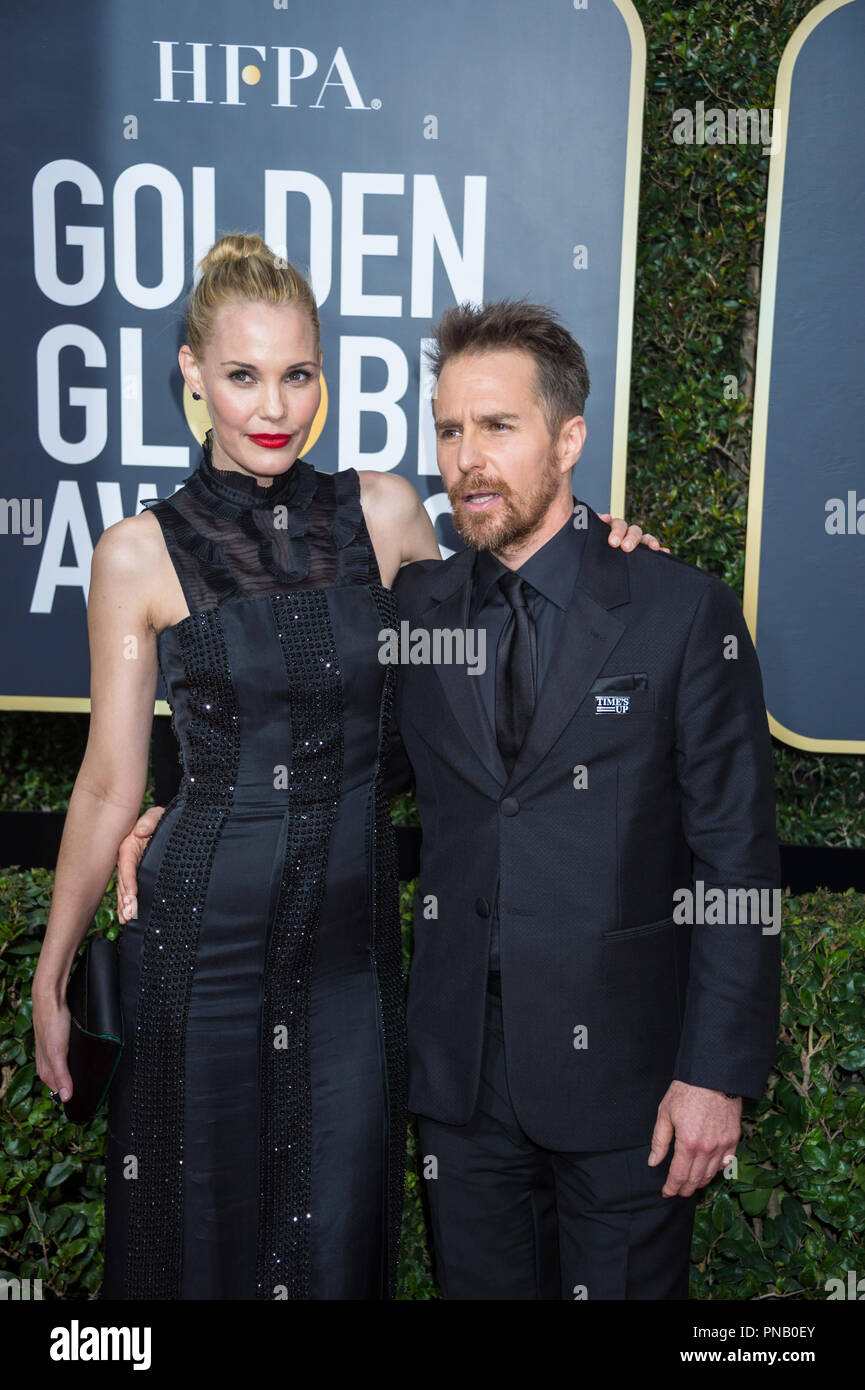"""Nominated for BEST PERFORMANCE BY AN ACTOR IN A SUPPORTING ROLE IN A MOTION PICTURE for his role in """"Three Billboards Outside Ebbing, Missouri,"""" actor Sam Rockwell (L) and Leslie Bibb attend the 75th Annual Golden Globes Awards at the Beverly Hilton in Beverly Hills, CA on Sunday, January 7, 2018. Stock Photo"""