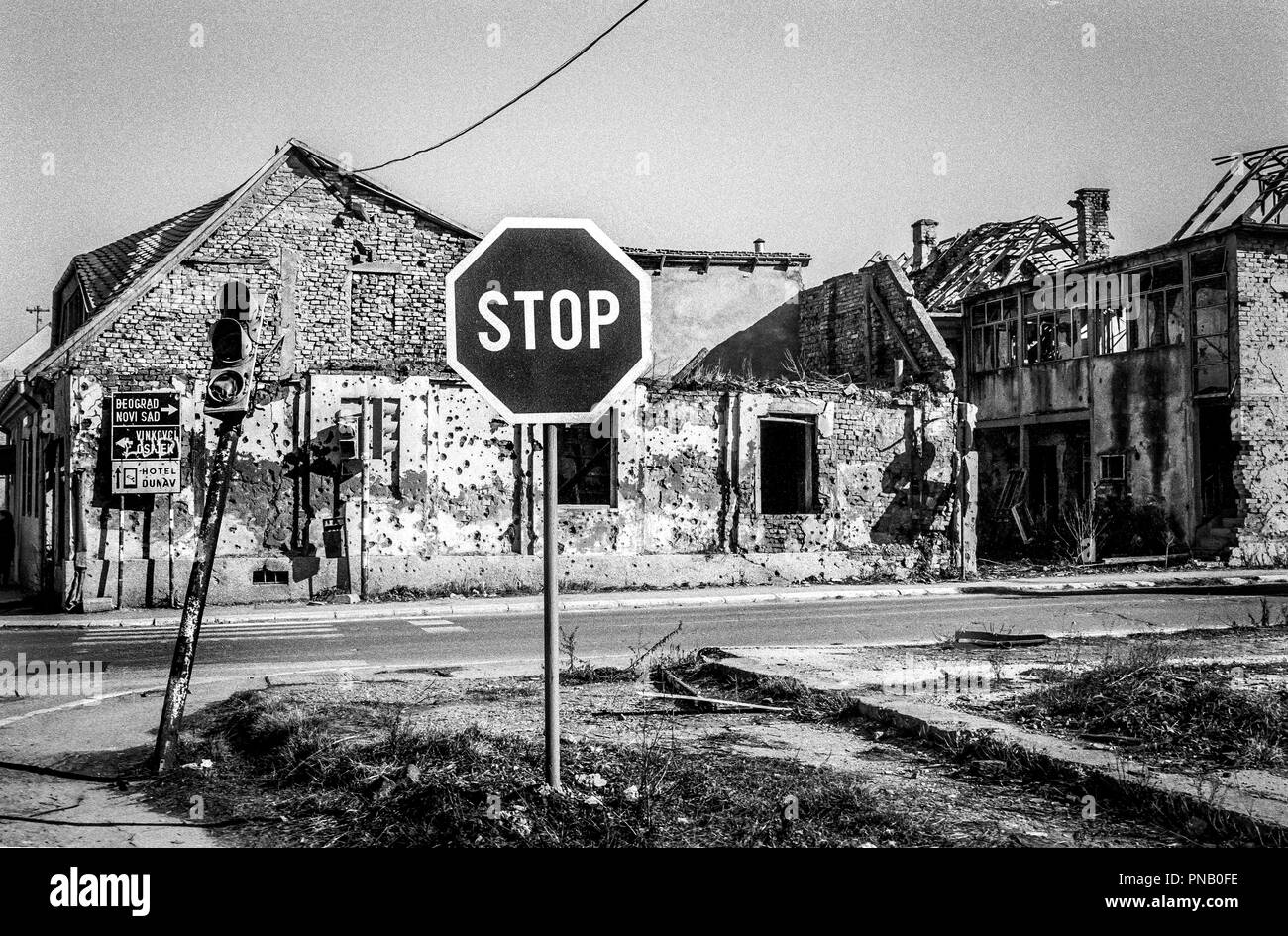 The Balkan conflict left its mark on the town of Vukovar. Vukovar's nickname 'Croatian Stalingrad' stems from being devastated by Serb-dominated army forces in the early days of Croatia's war for independence from the ex-Yugoslavia. It suffered a three-month long siege before being captured by Serb forces in November 1991. Stock Photo
