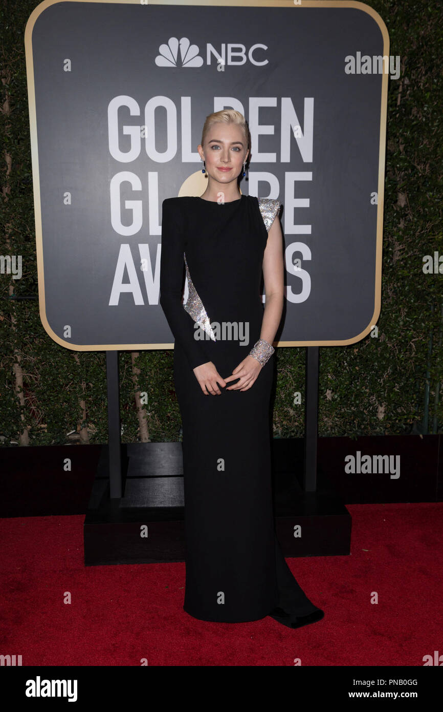 Actor Saoirse Ronan attend the 75th Annual Golden Globes Awards at the Beverly Hilton in Beverly Hills, CA on Sunday, January 7, 2018. Stock Photo