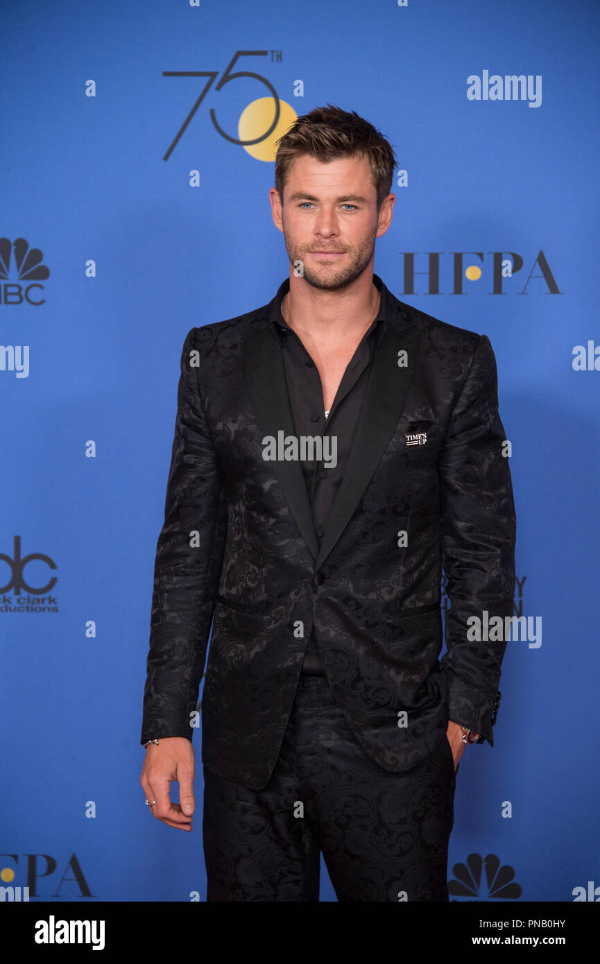 Chris Hemsworth poses backstage in the press room at the 75th Annual Golden Globe Awards at the Beverly Hilton in Beverly Hills, CA on Sunday, January 7, 2018. Stock Photo