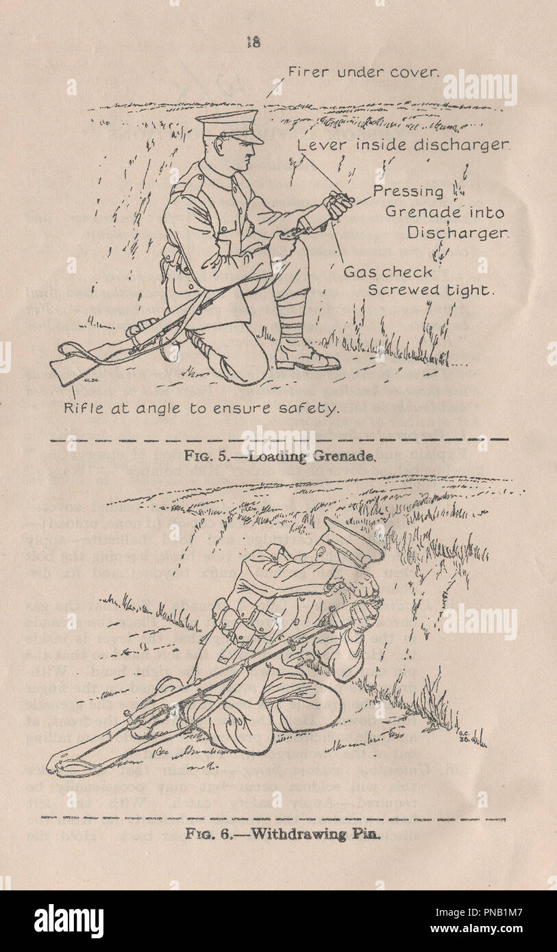 Small Arms Training Manual volume 1 pamphlet number 13 Grenade or Mills bomb with a rifle discharger published in 1937 to provide instruction to British military personnel on how to use the hand grenade during the pre-war period and World War Two - Stock Image