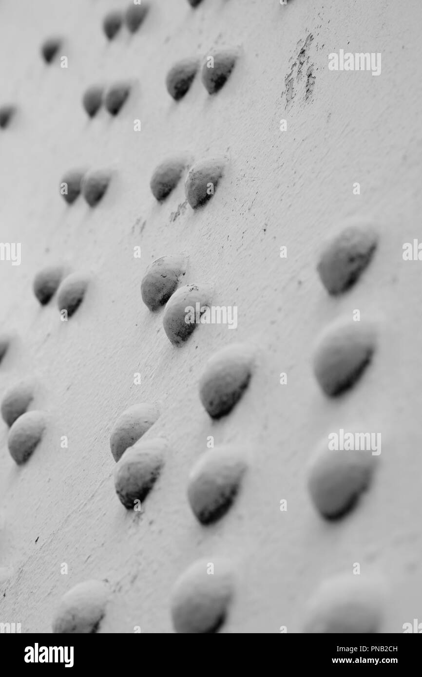 Detail or riivets on Chelsea Bridge, Battersea, London, UK - Stock Image