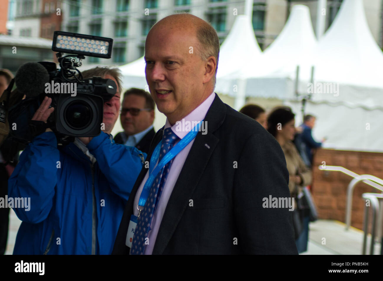 2 October 2017 - Transport Secretary Chris Grayling arrives at Conservative Party Conference in Manchester, UK. - Stock Image