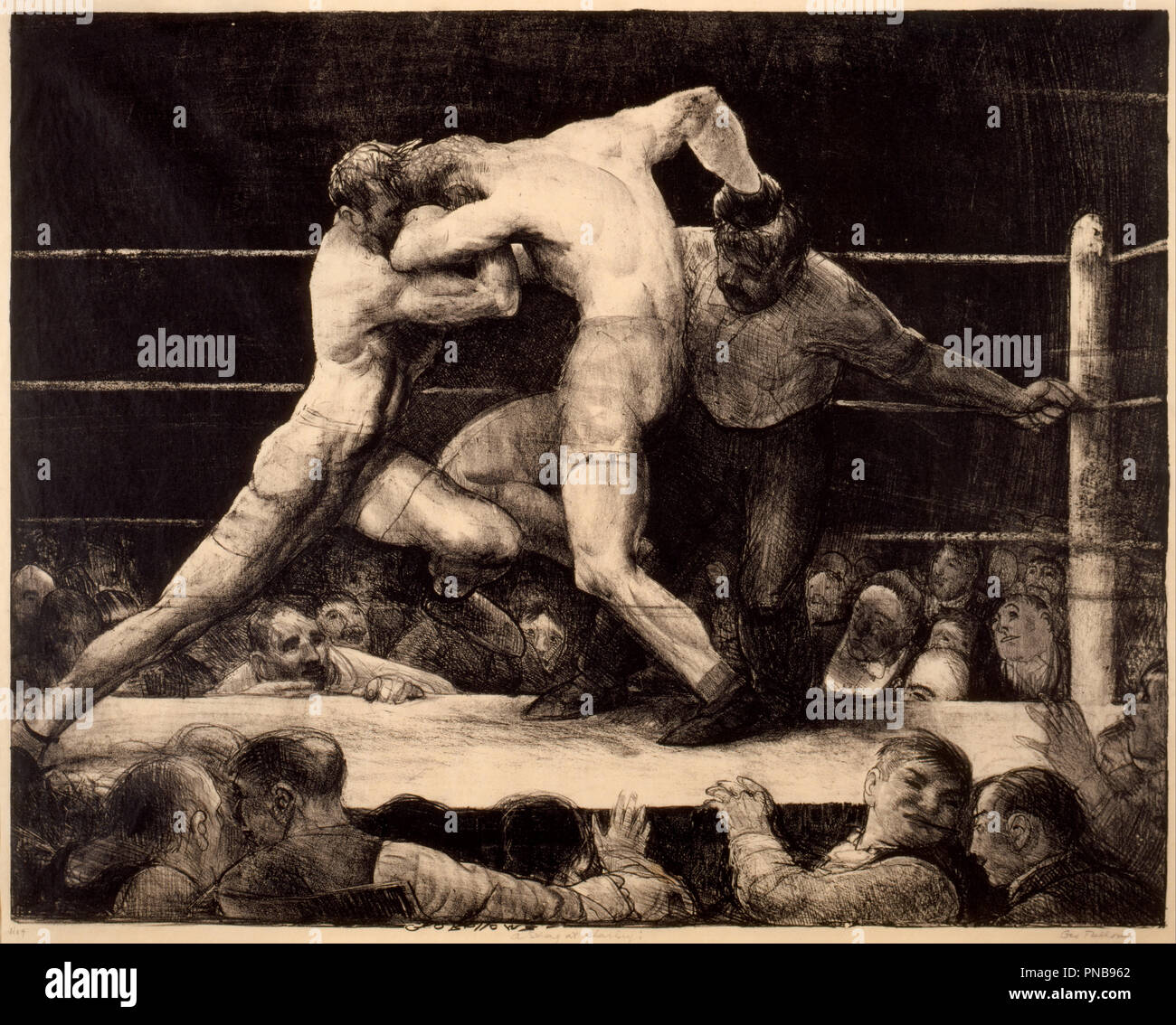 A Stag at Sharkey's. Date/Period: 1917. Lithograph. Height: 18.6 in (47.2 cm); Width: 23.9 in (60.7 cm). Author: George Bellows. Bellows, George. - Stock Image